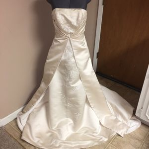 Champagne David's Bridal Strapless Wedding Gown 4